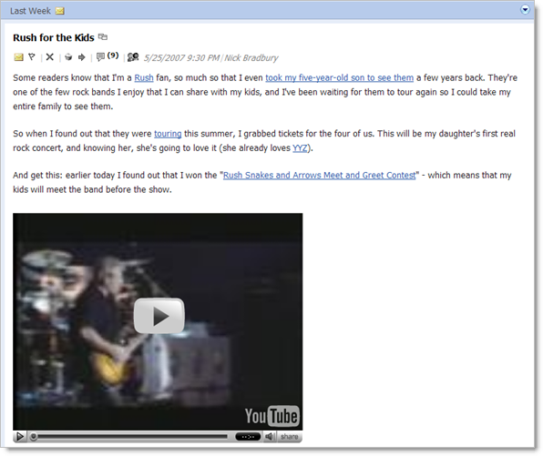 Screenshot of a FeedDemon newspaper with an embedded YouTube video